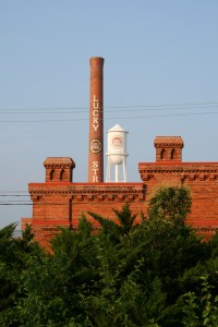 Iconic Lucky Strike smokestack at the American Tobacco Historic District in Durham